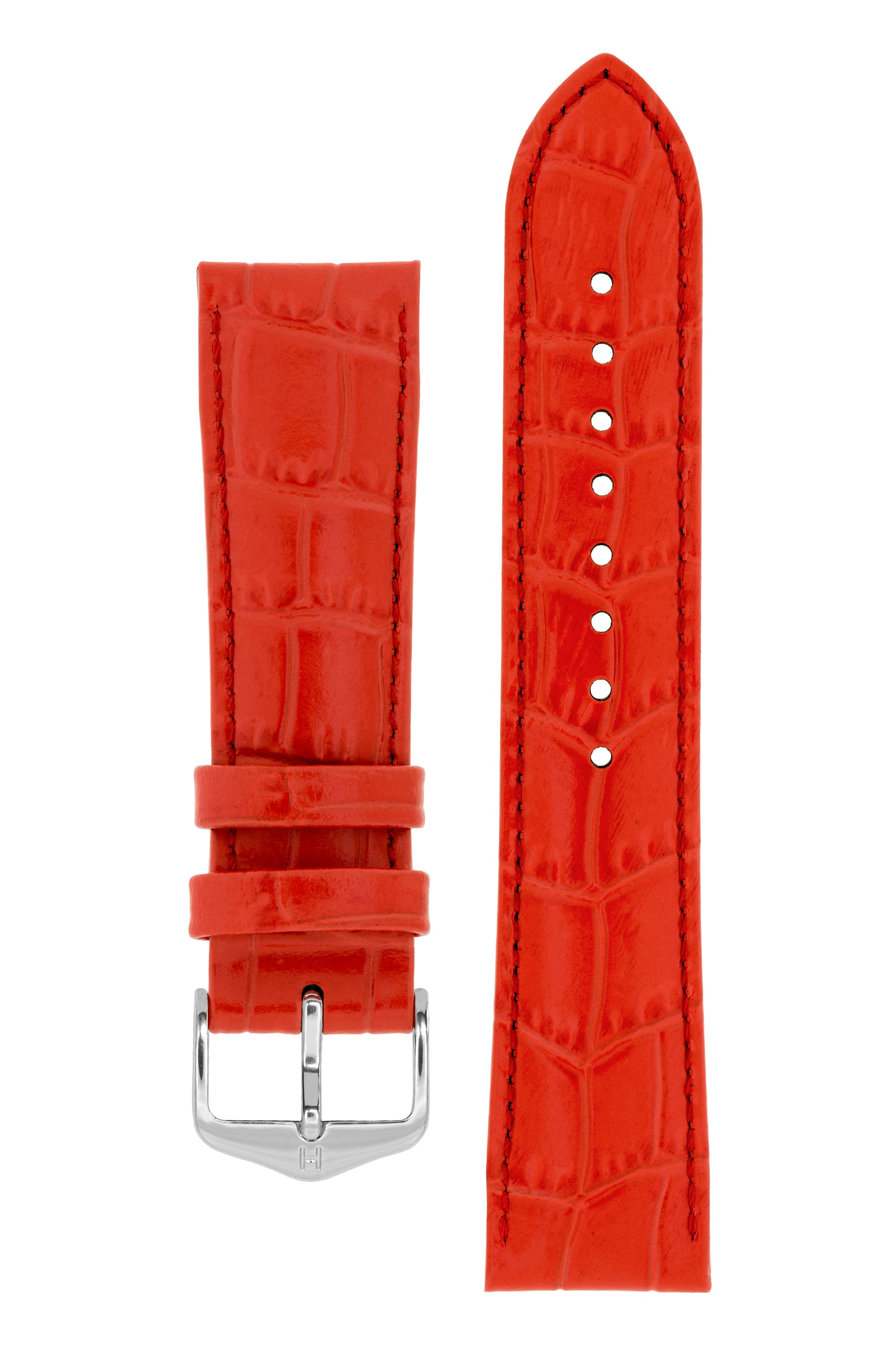 Hirsch LOUISIANALOOK Alligator Embossed Leather Watch Strap in RED