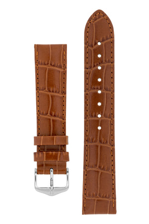 Hirsch LOUISIANALOOK Alligator Embossed Leather Watch Strap in GOLD BROWN