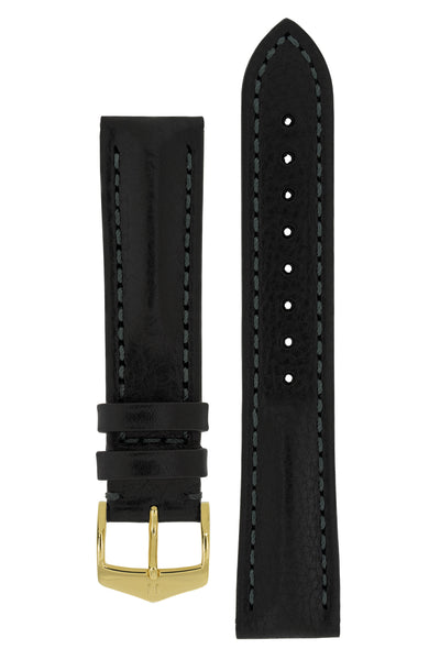 Hirsch LUCCA Tuscan Leather Watch Strap in BLACK