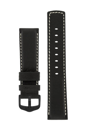 Hirsch Mariner Wax-Coated Water-Resistant Leather Watch Strap in Black (with Black PVD-Coated Steel H-Active Buckle)