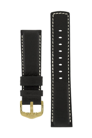 Hirsch Mariner Wax-Coated Water-Resistant Leather Watch Strap in Black (with Polished Gold Steel H-Active Buckle)