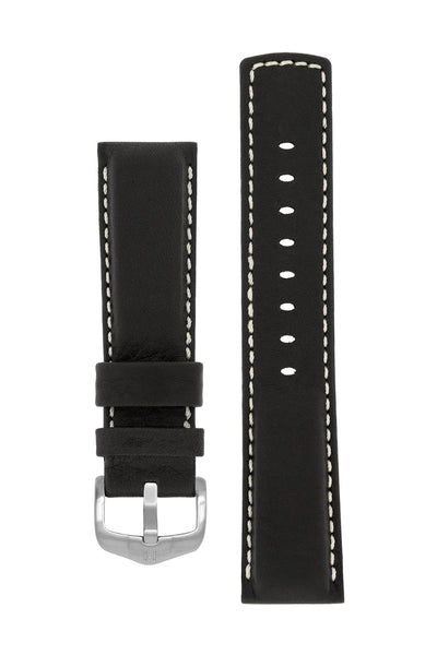 Hirsch Mariner Wax-Coated Water-Resistant Leather Watch Strap in Black (with Brushed Silver Steel H-Active Buckle)