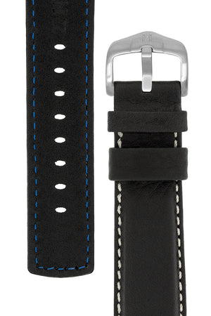 Hirsch Mariner Wax-Coated Water-Resistant Leather Watch Strap in Black (Underside & Tapers)