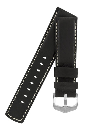 Hirsch Mariner Wax-Coated Water-Resistant Leather Watch Strap in Black