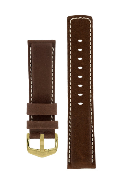 Hirsch MARINER Water-Resistant Leather Watch Strap in BROWN