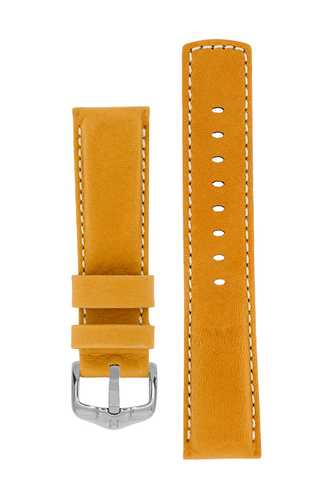 Hirsch MARINER Water-Resistant Leather Watch Strap in GOLD BROWN