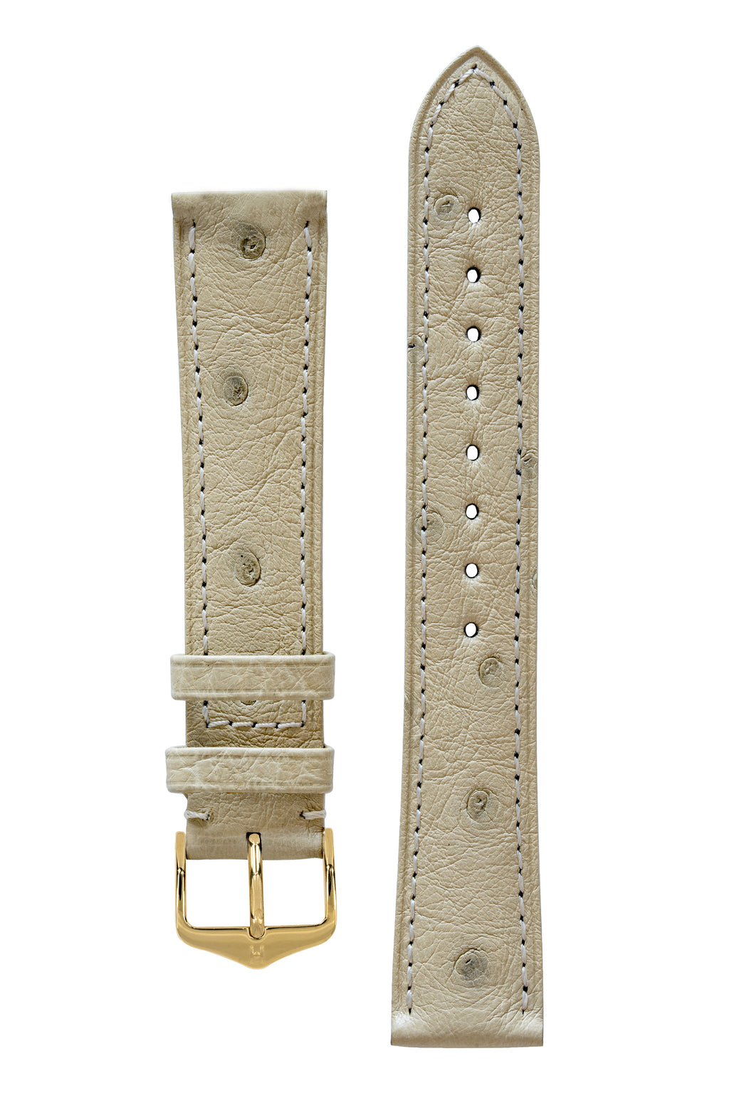Hirsch MASSAI OSTRICH Leather Watch Strap in BEIGE