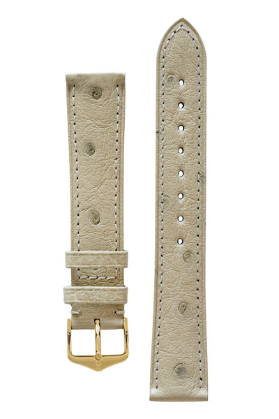 Hirsch Massai Genuine Ostrich Leather Watch Strap in Beige with Matching Stitch (with Polished Gold Steel H-Tradition Buckle)
