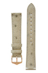 Hirsch Massai Genuine Ostrich Leather Watch Strap in Beige with Matching Stitch (with Polished Rose Gold Steel H-Tradition Buckle)