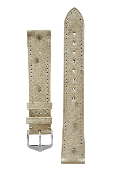 Hirsch Massai Genuine Ostrich Leather Watch Strap in Beige with Matching Stitch (with Polished Silver Steel H-Tradition Buckle)