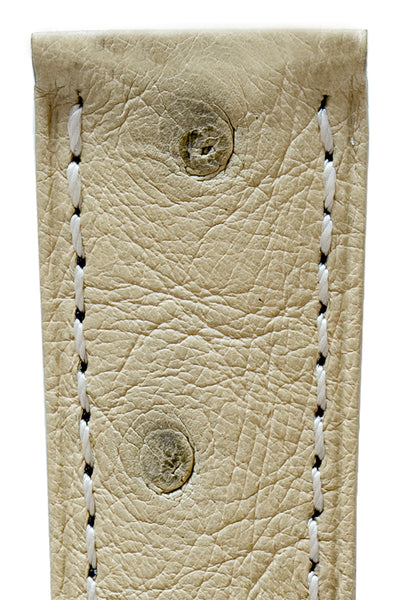 Hirsch Massai Genuine Ostrich Leather Watch Strap in Beige with Matching Stitch (Close-Up Texture Detail)