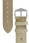 Hirsch Massai Genuine Ostrich Leather Watch Strap in Beige with Matching Stitch (Underside & Tapers)