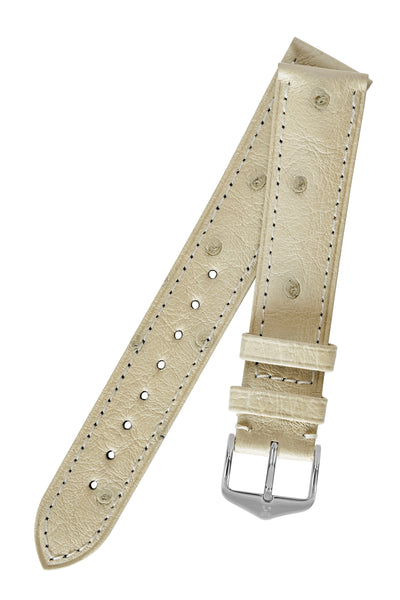 Hirsch Massai Genuine Ostrich Leather Watch Strap in Beige with Matching Stitch