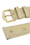Hirsch Massai Genuine Ostrich Leather Watch Strap in Beige with Matching Stitch (Keepers)