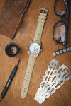 Hirsch Massai Genuine Ostrich Leather Watch Strap in Beige with Matching Stitch (Promo Photo)