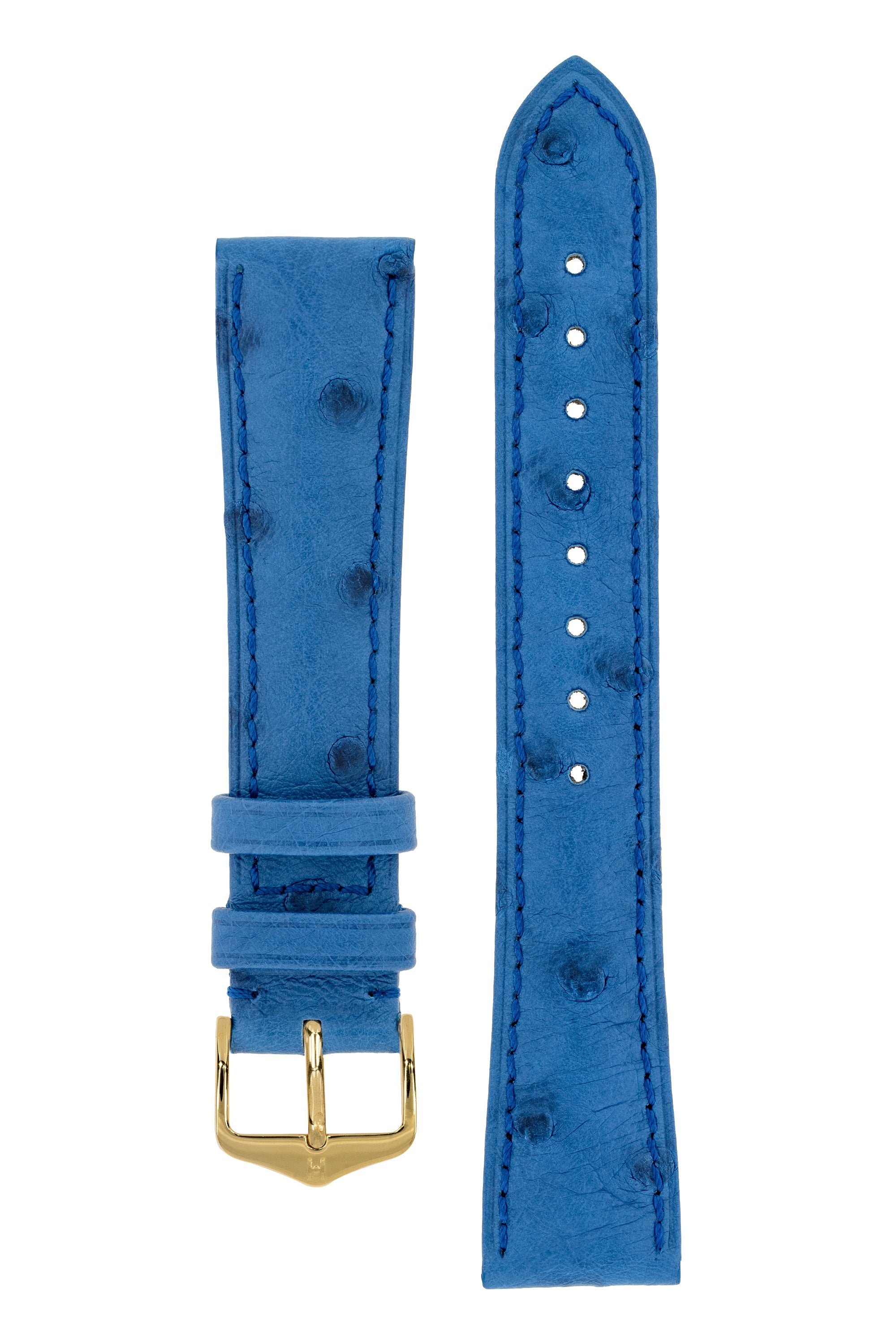 Hirsch MASSAI OSTRICH Leather Watch Strap in ROYAL BLUE