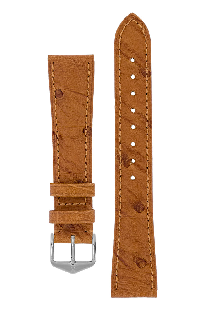 Hirsch Massai Genuine Ostrich Leather Watch Strap in Gold Brown with Matching Stitch (with Polished Silver Steel H-Tradition Buckle)