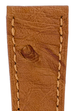 Load image into Gallery viewer, Hirsch Massai Genuine Ostrich Leather Watch Strap in Gold Brown with Matching Stitch (Close-Up Texture Detail)