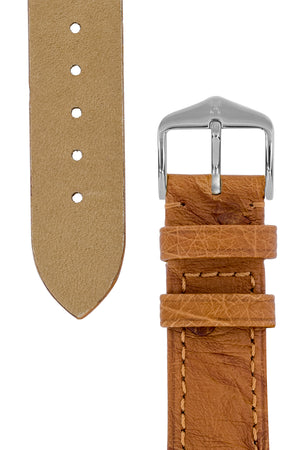 Load image into Gallery viewer, Hirsch Massai Genuine Ostrich Leather Watch Strap in Gold Brown with Matching Stitch (Underside & Tapers)