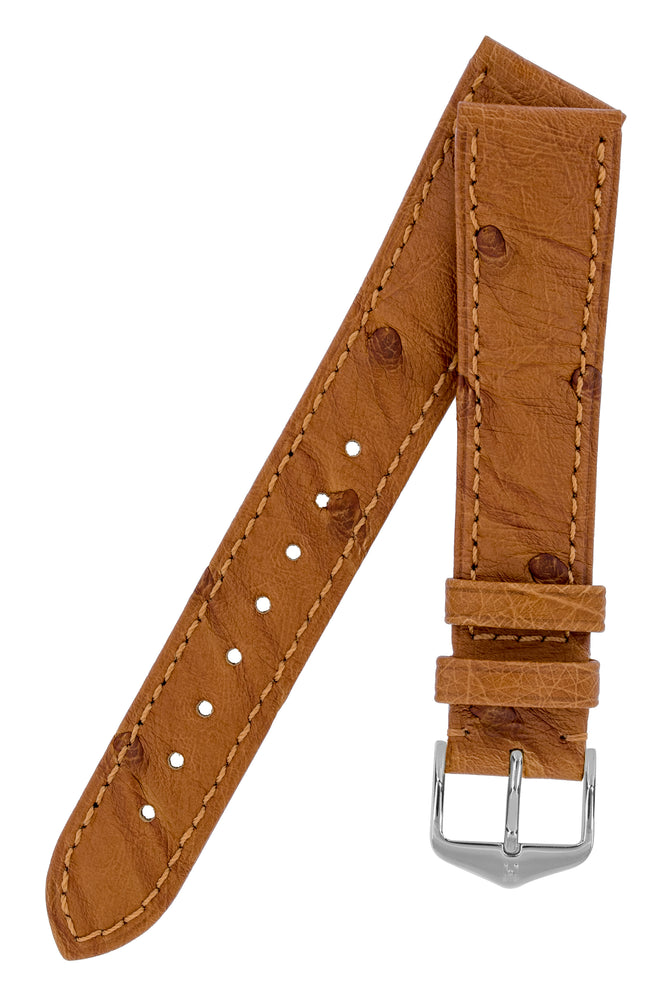 Load image into Gallery viewer, Hirsch Massai Genuine Ostrich Leather Watch Strap in Gold Brown with Matching Stitch