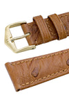 Hirsch MASSAI OSTRICH Leather Watch Strap in GOLD BROWN