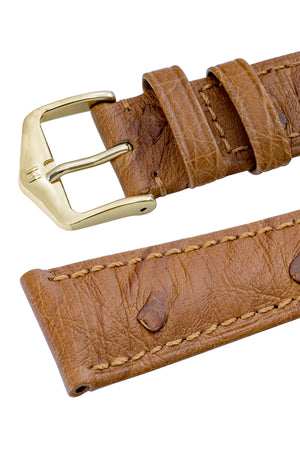 Hirsch Massai Genuine Ostrich Leather Watch Strap in Gold Brown with Matching Stitch (Keepers)