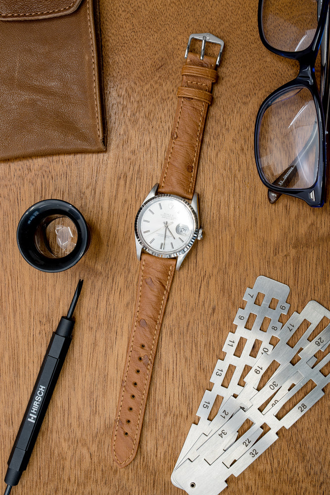 Load image into Gallery viewer, Hirsch Massai Genuine Ostrich Leather Watch Strap in Gold Brown with Matching Stitch (Promo Photo)
