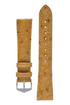 Hirsch Massai Genuine Ostrich Leather Watch Strap in Honey Brown with Matching Stitch (with Polished Silver Steel H-Tradition Buckle)
