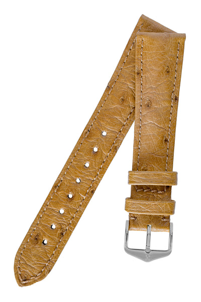 Hirsch Massai Genuine Ostrich Leather Watch Strap in Honey Brown with Matching Stitch