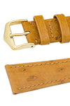 Hirsch Massai Genuine Ostrich Leather Watch Strap in Honey Brown with Matching Stitch (Keepers)