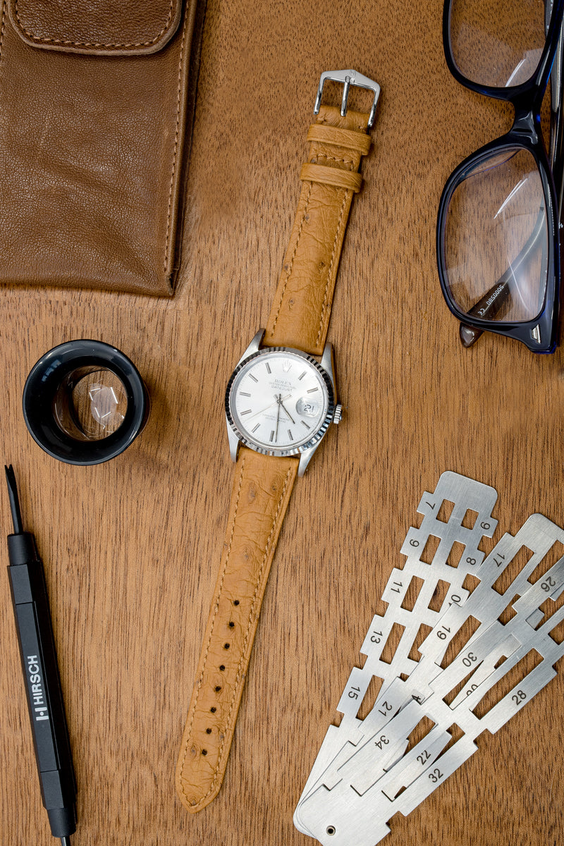 Hirsch MASSAI OSTRICH Leather Watch Strap in HONEY