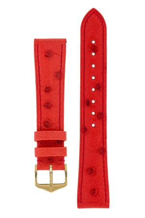 Hirsch Massai Genuine Ostrich Leather Watch Strap in Red with Matching Stitch (with Polished Gold Steel H-Tradition Buckle)
