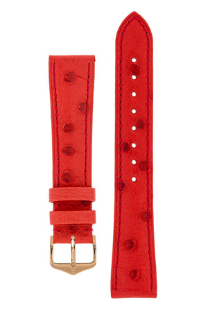 Hirsch Massai Genuine Ostrich Leather Watch Strap in Red with Matching Stitch (with Polished Rose Gold Steel H-Tradition Buckle)