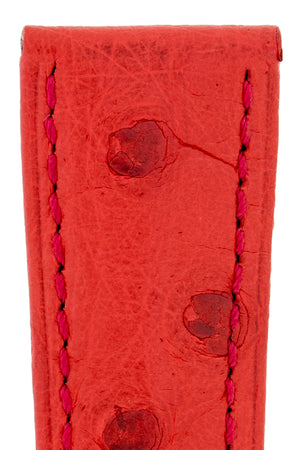 Hirsch Massai Genuine Ostrich Leather Watch Strap in Red with Matching Stitch (Close-Up Texture Detail)