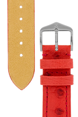Hirsch Massai Genuine Ostrich Leather Watch Strap in Red with Matching Stitch (Underside & Tapers)