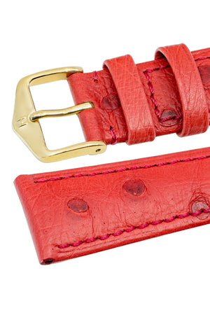 Hirsch Massai Genuine Ostrich Leather Watch Strap in Red with Matching Stitch (Keepers)