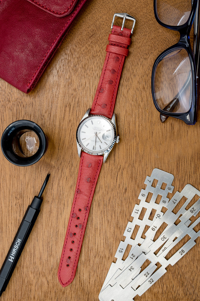 Hirsch Massai Genuine Ostrich Leather Watch Strap in Red with Matching Stitch (Promo Photo)
