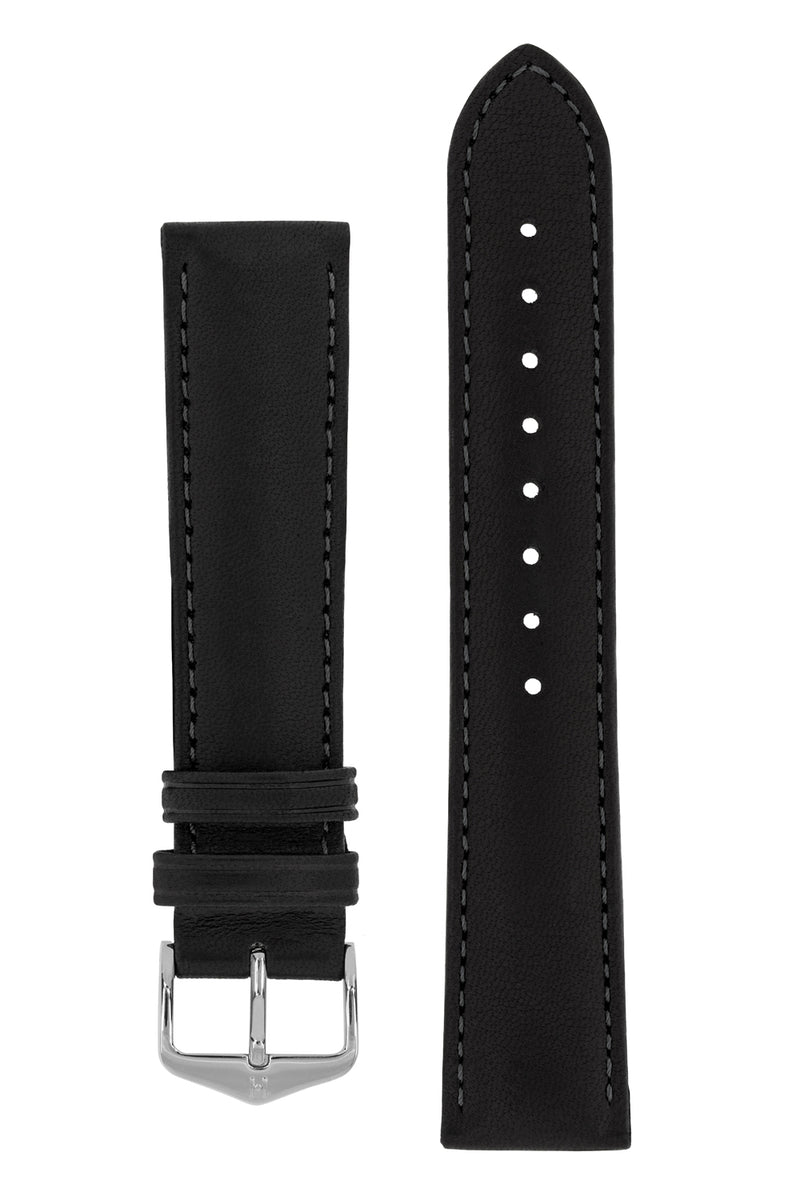 Hirsch MERINO Nappa Leather Watch Strap in BLACK