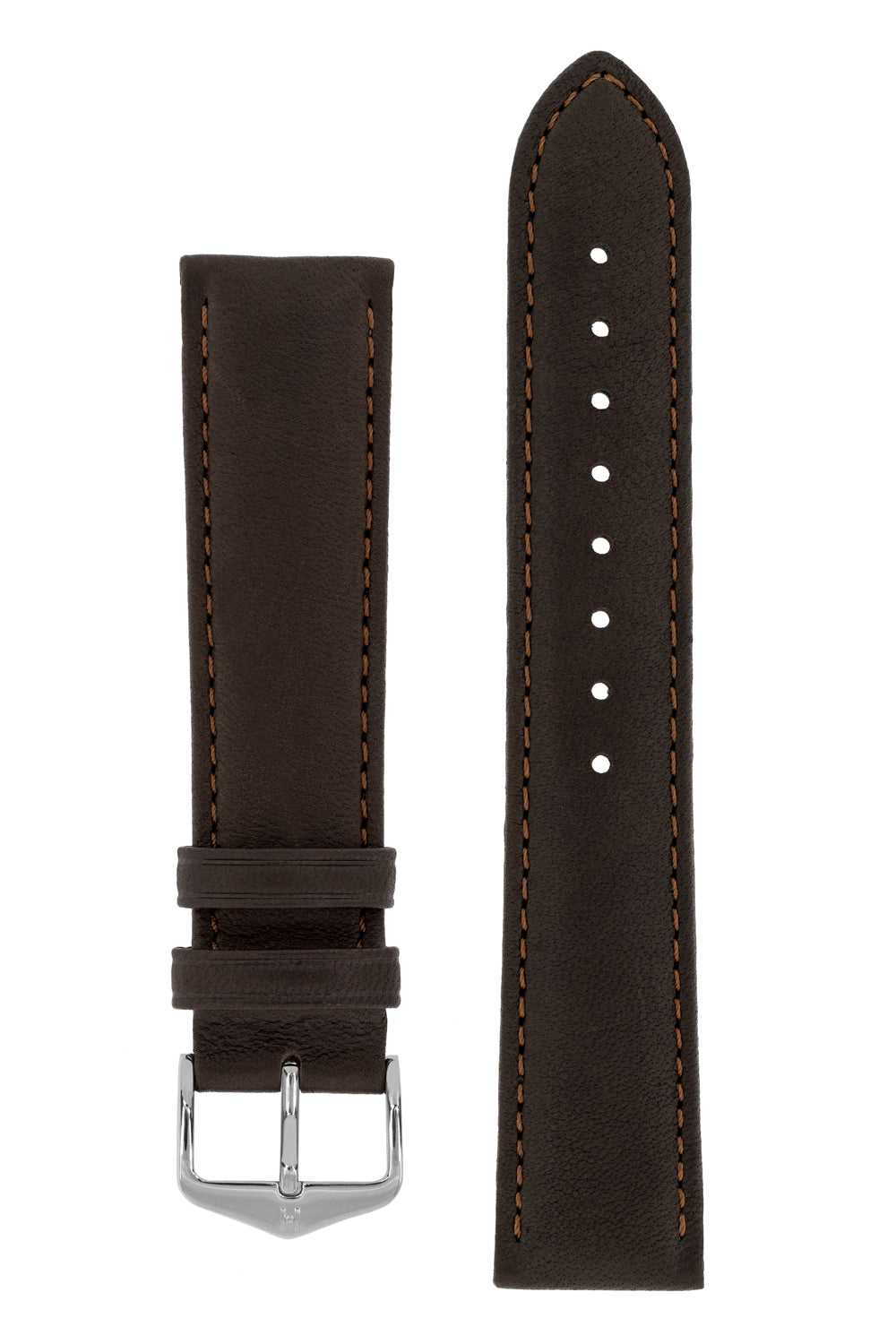 Hirsch MERINO Nappa Leather Watch Strap in BROWN