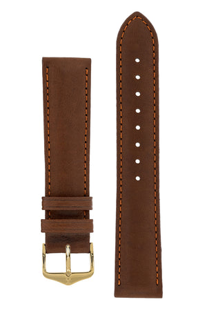 Hirsch Merino Nappa Sheepskin Leather Watch Strap in Gold Brown (with Polished Gold Steel H-Tradition Buckle)