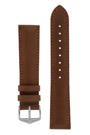 Hirsch Merino Nappa Sheepskin Leather Watch Strap in Gold Brown (with Polished Silver Steel H-Tradition Buckle)