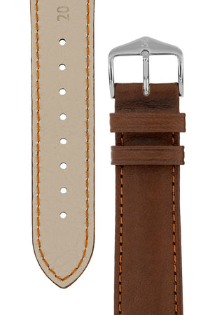 Load image into Gallery viewer, Hirsch Merino Nappa Sheepskin Leather Watch Strap in Gold Brown (Underside & Tapers)