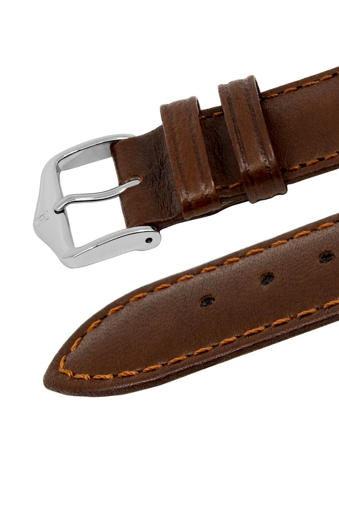 Hirsch Merino Nappa Sheepskin Leather Watch Strap in Gold Brown (Keepers)