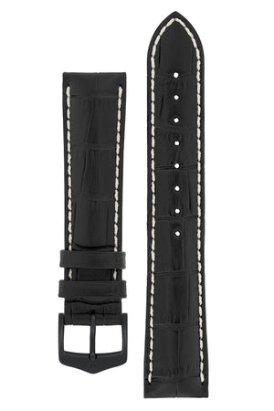 Hirsch Modena Alligator-Embossed Leather Sports Watch Strap in Black (with Black PVD-Coated Steel H-Classic Buckle)