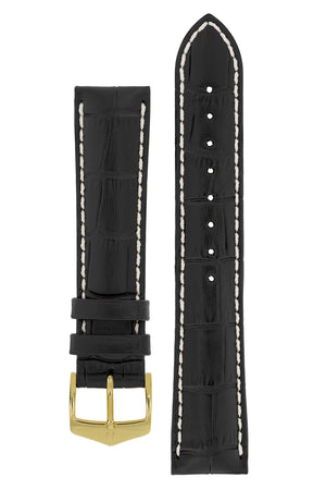 Hirsch Modena Alligator-Embossed Leather Sports Watch Strap in Black (with Polished Gold Steel H-Classic Buckle)