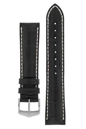Hirsch Modena Alligator-Embossed Leather Sports Watch Strap in Black (with Polished Silver Steel H-Classic Buckle)