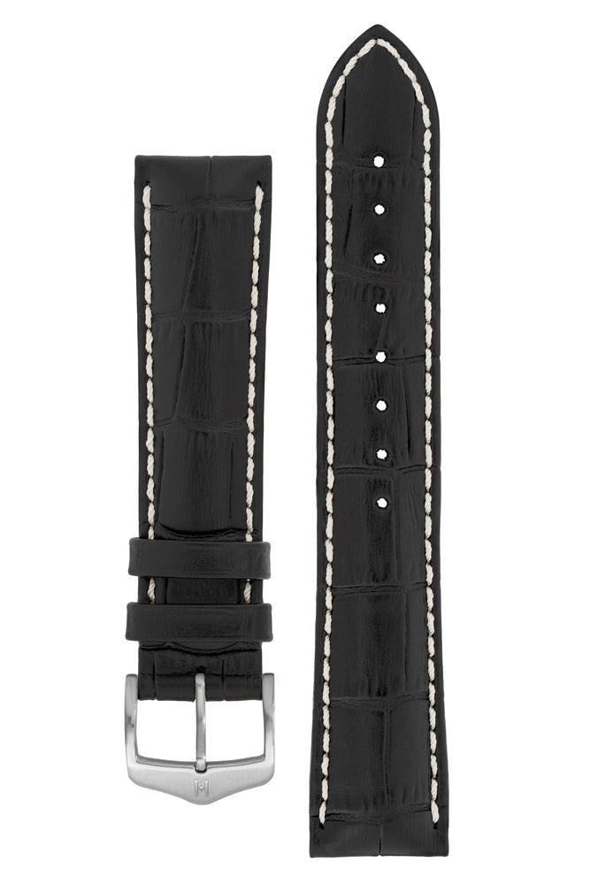 Hirsch Modena Alligator-Embossed Leather Sports Watch Strap in Black (with Brushed Silver Steel H-Classic Buckle)