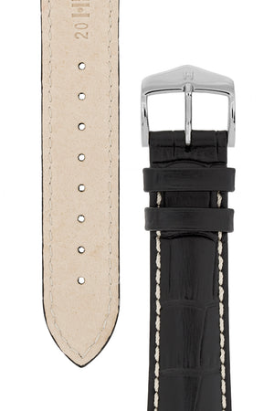 Hirsch Modena Alligator-Embossed Leather Sports Watch Strap in Black (Underside & Tapers)