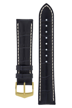 Hirsch Modena Alligator-Embossed Leather Sports Watch Strap in Dark Blue (with Polished Gold Steel H-Classic Buckle)