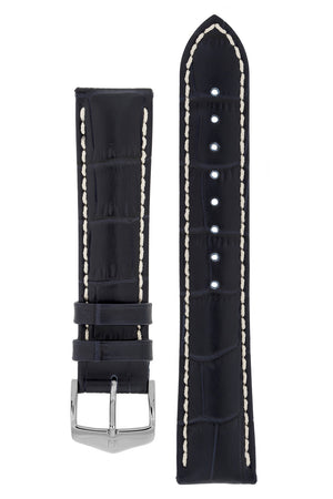 Hirsch Modena Alligator-Embossed Leather Sports Watch Strap in Dark Blue (with Polished Silver Steel H-Classic Buckle)